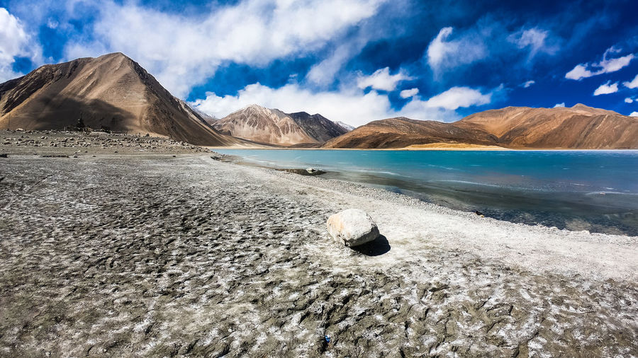 Mountain Sky Cloud - Sky Beauty In Nature Scenics - Nature Day Water Nature Land No People Landscape Environment Rock Outdoors Mountain Range Pangong Lake Ladakh