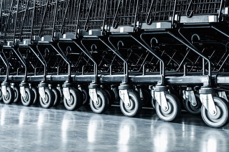 Row of shopping carts in store