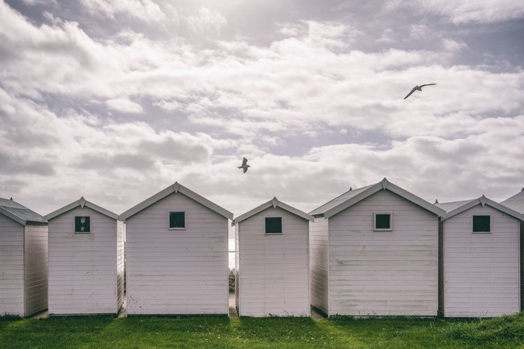 Birds flying over beach hut against cloudy sky
