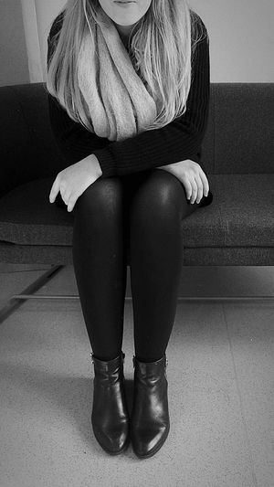 Mysterious girlll Me My Camera And I Shapes And Forms Minimal Showcase: February Blackandwhite Photography Contrast Hi!! Delicate Intimacy Person Sitting Pretty Couch Scarf Legs Shoes College Life Mysterious Style