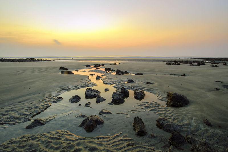 Beach sunrise Water Low Tide Sea Sunset Beach Horizon Sand Silhouette Sun Beauty Seascape