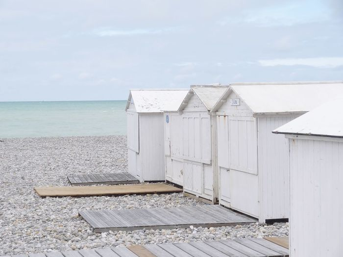Shades of White Beach Cabins Beach Houses  Sky Beach Sea Day No People Architecture Land Horizon Cloud - Sky Horizon Over Water Wood - Material Tranquility Scenics - Nature