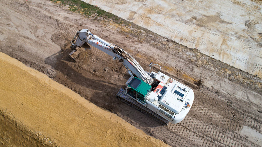 High Angle View Of Construction Vehicle At Site