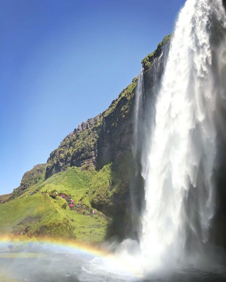 Falls Rainbow Colors Rainbow🌈 Rainbow Rainbow Valley Iceland Visiticeland Iceland_collection Waterfall Power In Nature Mountain Spraying Water Motion Clear Sky Adventure Sky Flowing Water Stream - Flowing Water Stream Splashing Flowing