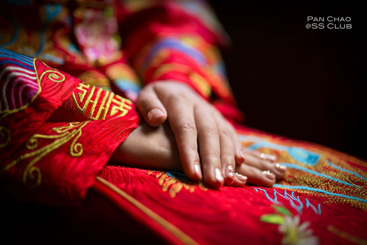 Art Black Background China Style China Wedding Close-up Cropped Detail Fabric Girl Human Human Finger Lifestyles Multi Colored Part Of Person Pink Color Red Selective Focus Textile Wedding Wedding Photography The Photojournalist - 2016 EyeEm Awards