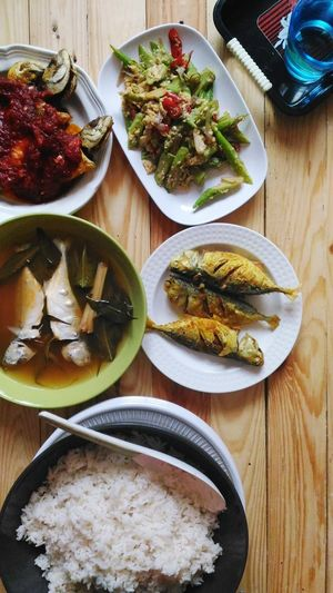lunch Fish Ocra Spices Malay Food Fresh Fish Water Bowl Of Rice Lunch Time! Appetizer Plate Gourmet Table Cooked Healthy Lifestyle Directly Above Fruit SLICE Food Styling