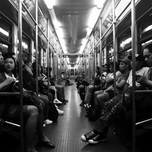 busy train in