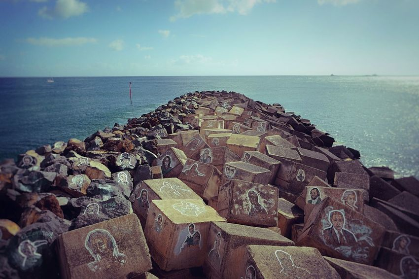 Art near Auditorium in Santa Cruz de Tenerife, Canary Islands Beauty In Nature Close-up Day Groyne Horizon Over Water Large Group Of Objects Nature No People Outdoors Scenics Sea Sky Tranquility Water