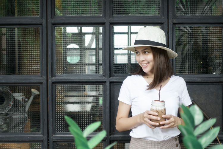 Fashion Portrait Of A Woman Woman Asian Girl Coffee - Drink Lifestyles Relax Time  Shop Smiling White