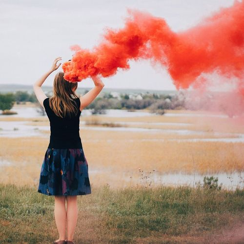 Girl Smoke Red Smoke Bomb