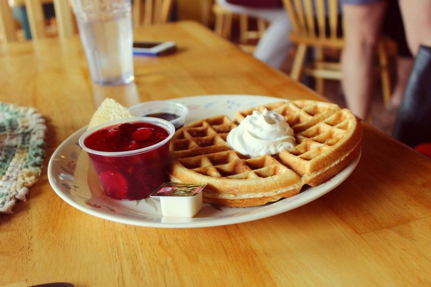 America Arrangement Breafkfast Close-up Composition Food Food And Drink Freshness Healthy Lifestyle Indoors  Indulgence Jam Meal Plate Preparation  Ready-to-eat Serving Size Snack Still Life Strawberry Table Temptation Unhealthy Eating Waffle