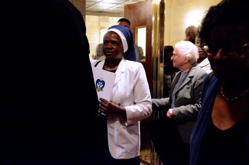 Order of African American nuns from the Franciscan Handmaids of the Most Pure Heart celebrates 100 years of service in the Harlem Community. Nuns, Catholic Religion, Harlem The Photojournalist - 2018 EyeEm Awards Adult Architecture Business Clothing Group Of People Handshake Incidental People Indoors  Law Males  Men People Real People Senior Adult Senior Men Standing Waist Up