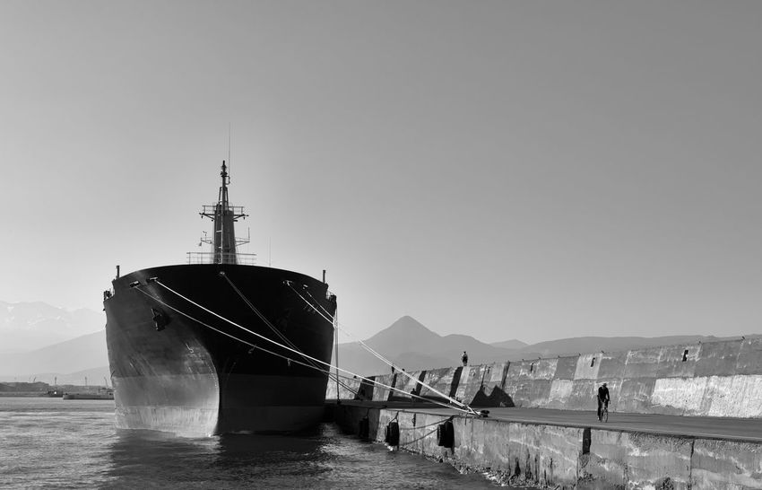 Moored Black & White Bw Bw_collection Cargo Ship Day EyeEm Best Shots - Black + White Greece Harbor Moored Mountain Nautical Vessel Outdoors Pier Port Sea Ship Transportation Water Let's Go. Together. Breathing Space Investing In Quality Of Life The Week On EyeEm Your Ticket To Europe Black And White Friday An Eye For Travel