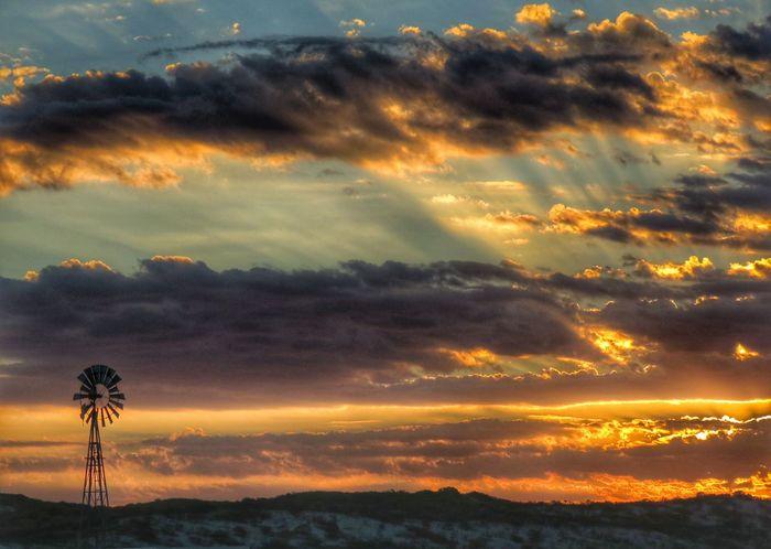 Windmill Wind Pump Clouds And Sky Cloudscape Sunset Multi Colored Rural Scene Backgrounds Silhouette Sunlight Illuminated