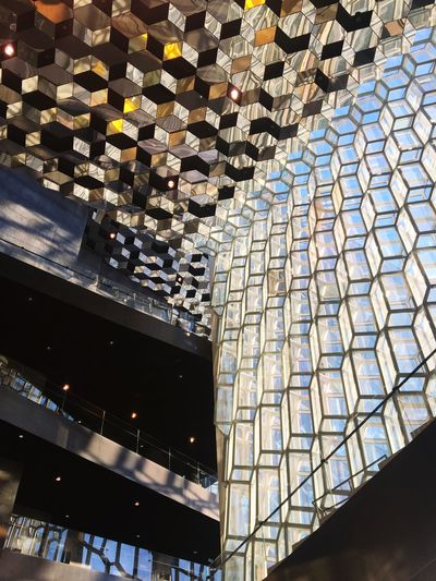 Reykjavik Iceland Harpa Operahouse Harpa Reykjavik Architecture Glass Façade Architecture Interior Glass Light And Shadow Glass Reflection Art Genius Low Angle View Ceiling Honeycomb Hexagon Northern Lights Aurora Symbol Olafur Eliasson