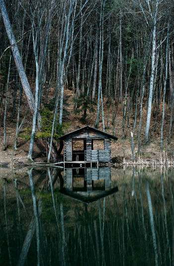 Built structure in calm lake