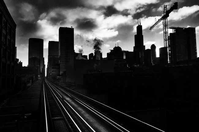Scenes from the CTA Chicago Streetphotography Blackandwhite Train Cityscape Skyline Sky Clouds Silhouette