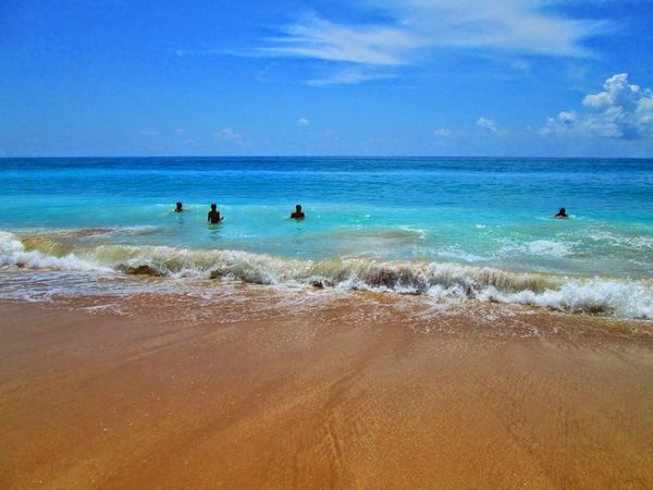 Beach Sea Sand Water Horizon Over Water Beauty In Nature Nature Vacations Scenics Sky Tropical Climate Summer Blue Silhouette Wave Tranquility Travel Destinations People Swimming Outdoors Vrachos Ionian Sea Greece Epirus Loutsa Beach