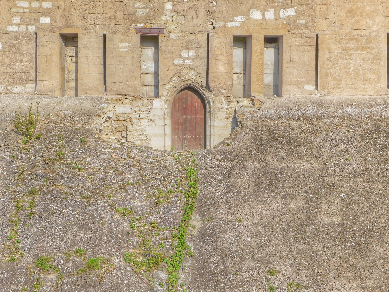 architecture, built structure, arch, building exterior, day, building, no people, the past, wall, history, old, outdoors, plant, entrance, nature, wall - building feature, window, door, staircase, growth, stone wall, concrete, arched