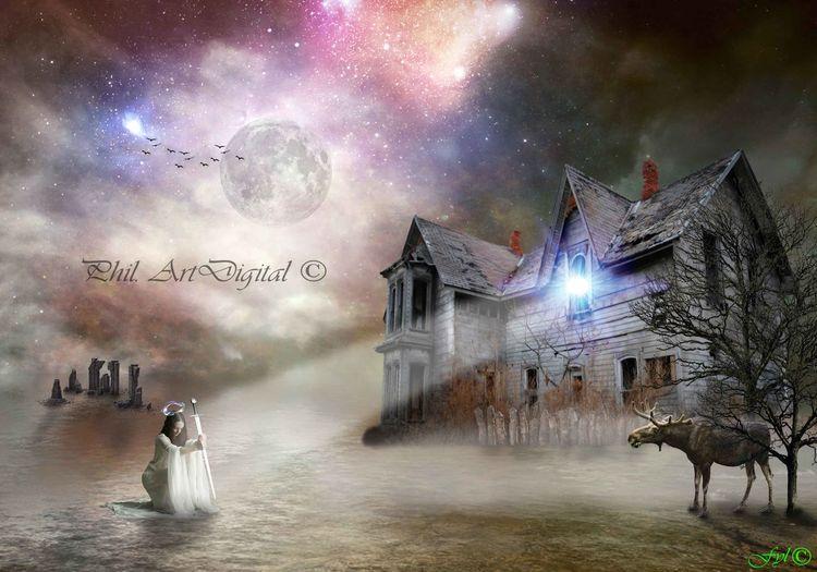 Artdigital Photoshop Fantasy Women My Artwork Surrealist Art Sureal Galaxy Destruction Sky Grass