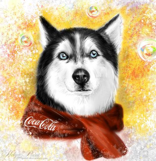 1995paint 2017 Blue Eyes HelgaPaint Animal Themes Art Cocacola ✌️ Denny Dog Haski Looking At Camera One Animal Portrait