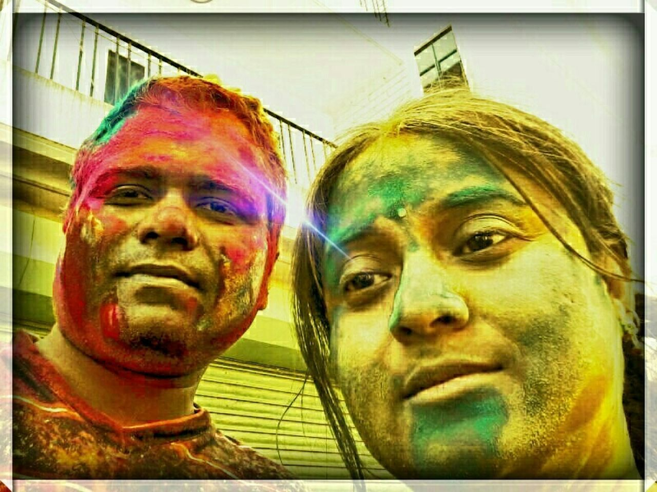 multi colored, holi, togetherness, young women, happiness, real people, close-up, outdoors, day, young adult, adult, people