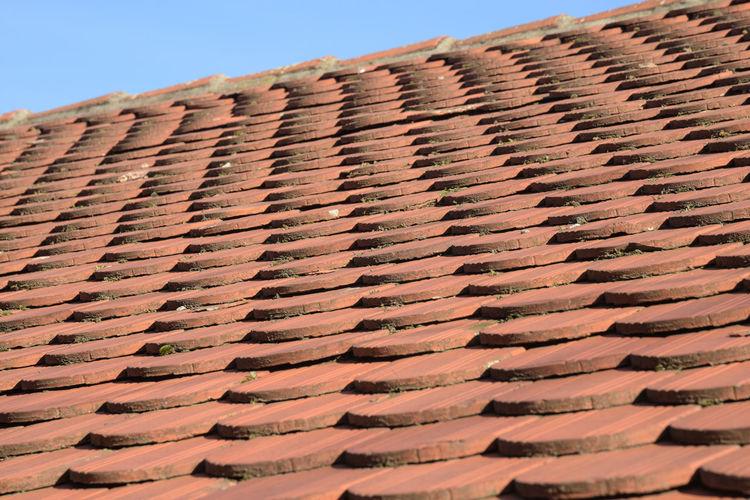 Full frame shot of roof tiles against sky