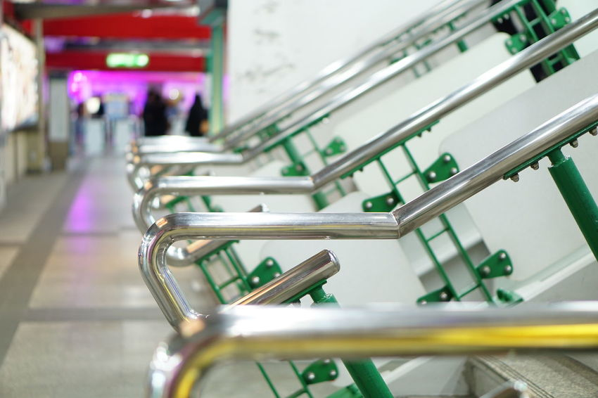 Sky train station Indoors  Business Finance And Industry Industry No People Day Metro Station Metal Steel Pole Steel Cable Steel Night Lights Nightphotography Night Indoors  Close-up Handrail  Handrails Handrail Metal