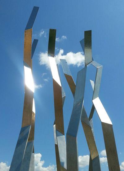Metal Sculpture Tangled In The Clouds Sunshine On Silver Modern Sculpture Modern Art Summer sunshine Edmonton, AB Valley Zoo Edmonton Zoo Samsung Galaxy S3