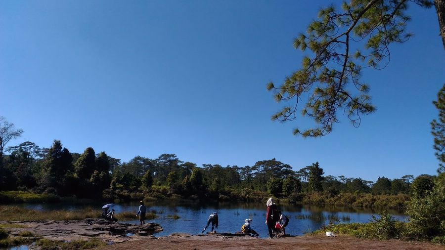 People on riverbank against clear blue sky