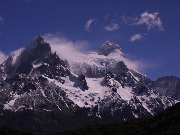 Scenic view of snowcapped mountains against sky. torres del paine mountains, chile