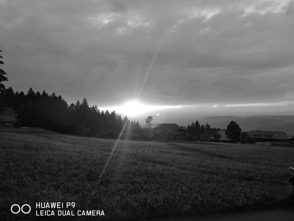 Sonnenuntergang in Schwarz Weiß HuaweiP9 Leicalens Huaweiphotography Emmental Wetter Sonnenuntergang Im Sommer Abendstimmung P9 Leica Lens Landscape Agriculture No People Outdoors Cloud - Sky