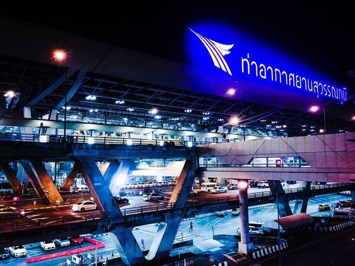 Night Illuminated Architecture Bridge - Man Made Structure Connection Transportation Communication Built Structure City Travel Destinations Indoors  No People Suvarnabhumi Airport Airport Airportphotography Airport Terminal Thailand