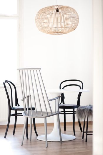 Dining area Chair Indoors  Table No People Home Interior Furniture Day Home Showcase Interior Boho White Color Interiordesign Scandinavian Nordicliving Whiteinterior Chairs Chair Indoors  Dining Diningarea Kitchen Roundtable