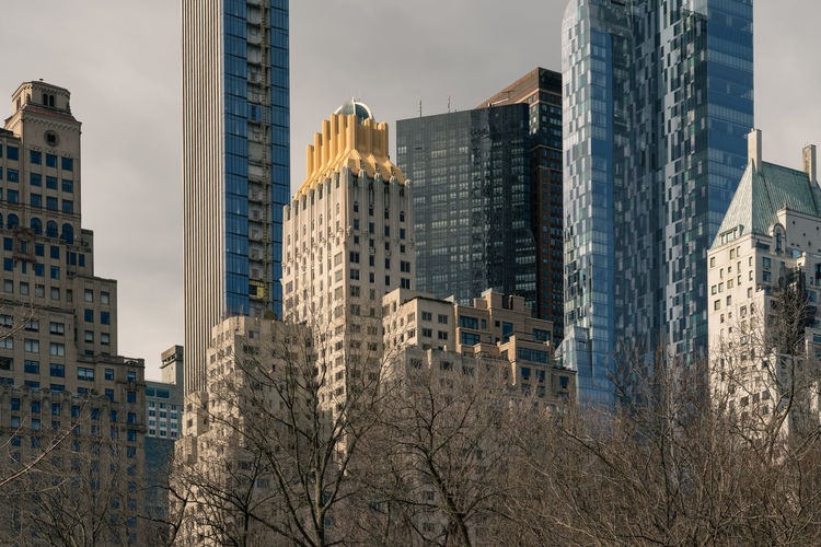 Low angle view of buildings in city against sky and above park