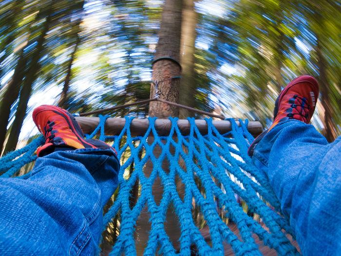 Forest Hammock Human Leg Motion Motion Blur Motion Blurred Outdoors Relax Rotation Trees Twist