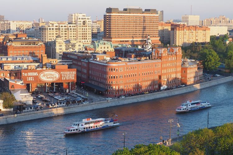 Red October Summer Tourism Moscow River Red October Architecture Building Exterior City Nautical Vessel Cityscape Built Structure High Angle View Outdoors Urban Skyline Transportation Water No People Travel Destinations