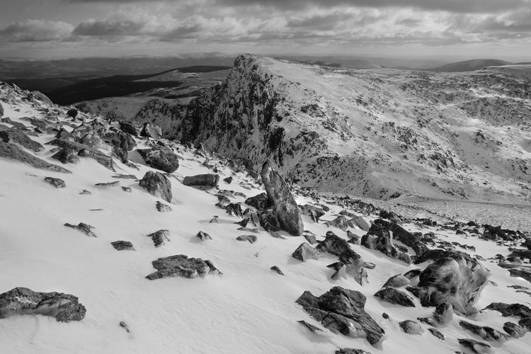 View from the Summit of Cadair Idris in Wales Ice Wales Winter Winter Scene Beauty In Nature Cad Air Idris Cloud - Sky Cold Temperature Day Landscape Mountain Mountain Range Mountains Nature No People Outdoors Rock - Object Scenics Sky Snow Snowdonia Snowy Tranquil Scene Tranquility Winter