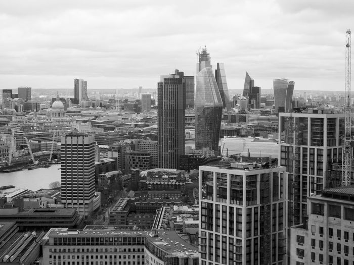 View towards the City of London from the London Eye Building Exterior City Built Structure Architecture Sky Cloud - Sky Cityscape Building Office Building Exterior Skyscraper London Eye Black And White B & W  B & W Photography Dramatic Sky Black And White Photography
