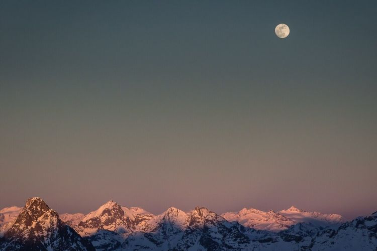 Fullmoon Winter Tranquility Mountain Range Beauty In Nature Engadine Switzerland
