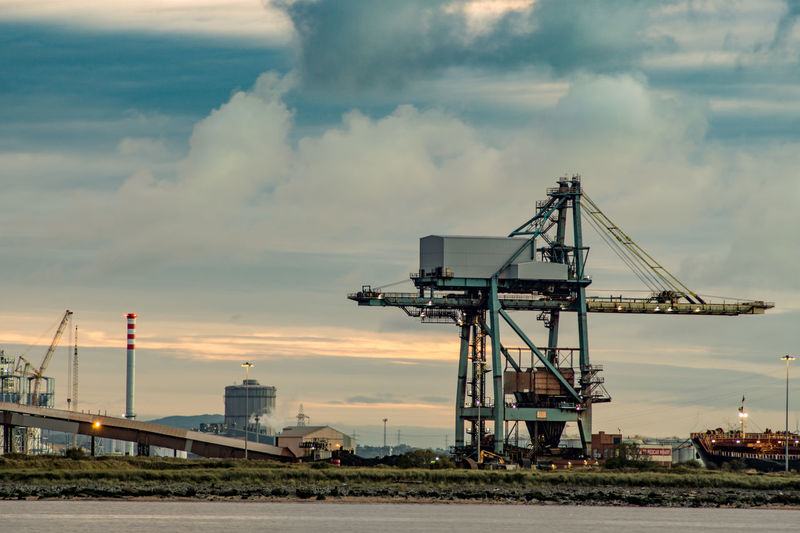 The South Gare at Redcar. North east of the UK. South Gare Redcar Uk England Europe Coast Industry Industrial North East UK North East England Teesside Tees Crane Crane - Construction Machinery Cranes Sky Harbor Harbour View