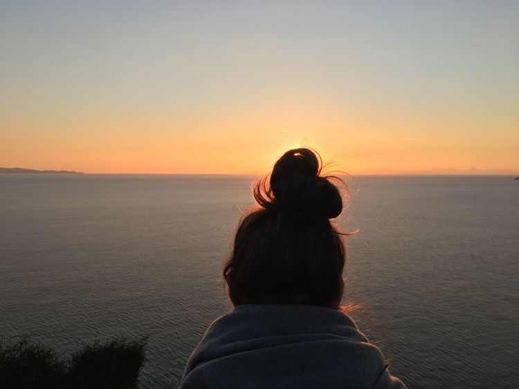 Sunset Horizon Over Water One Person Sun Scenics Silhouette