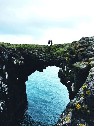 Icelandic Cliff over the Ocean Rock - Object Adventure Nature Cliff Hiking Sky Day Beauty In Nature Landscape Sea Climbing Silhouette Water Iceland Scandinavia Ocean
