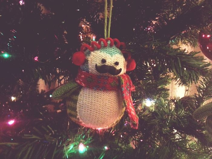 Penguin ornament, my sis stuck a mustache pin in it :3 adorable!