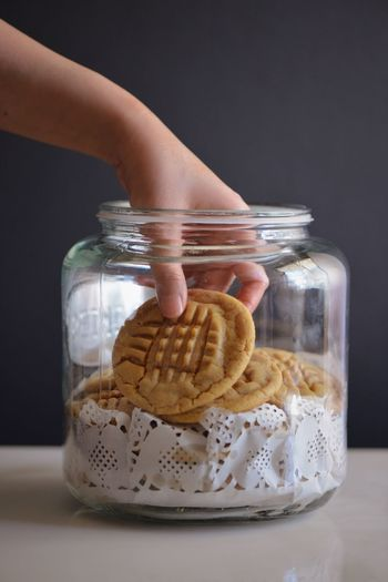 Cookies Peanut Butter Food And Drink Food Container Jar Baked Sweet Food Indoors  Freshness Cookie Hand Human Hand Snack Breakfast Healthy Eating