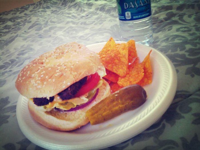 BBQ Time Hamburgars Doritos Pickles #onions# tomatoes#american cheese#