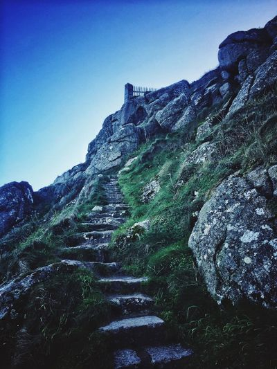 Moody stairs Cornwall Walks Rock - Object Nature No People Outdoors Clear Sky Landscape Cliff Beauty In Nature Steps Growth Minack Theatre Cornwall February 2017 Perspectives On Nature Shades Of Winter
