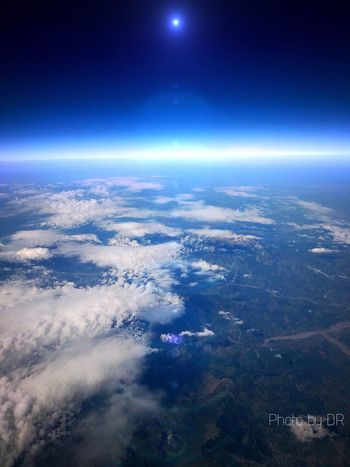 Earth Picoftheday Flight View Sky Scenics - Nature Beauty In Nature Aerial View Night Nature Space Cloud - Sky Environment Tranquil Scene Tranquility No People Blue Moon Astronomy Landscape Outdoors Star - Space Idyllic Horizon