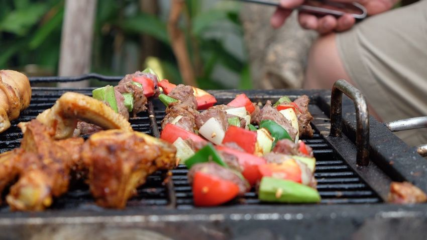 Bbq Meats Food And Drink Food Barbecue Grilled Meat Barbecue Grill Freshness Skewer Outdoors Kebab Preparation  Healthy Eating Vegetable Day Serving Tongs Ready-to-eat Real People Close-up Summer Exploratorium