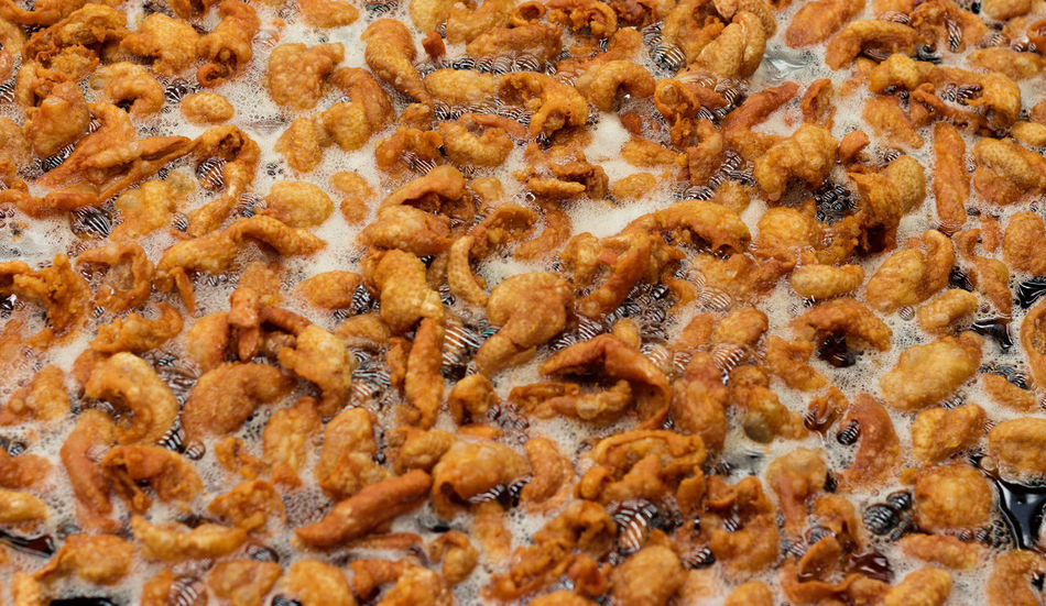 Crispy Chicken Skin with hot oil in pan Chicken Crispy Cuisine Culinary Dinner Fast Food Snack Textured  Appetizer Background Brown Calories Cholesterol Cooked Crisp Crumbly Crunchy Culture Deep Fried  Delicious Detail Energy Light Meal Wallpaper Yummy